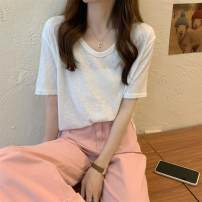 T-shirt Light grey , wathet , white , black , canary yellow , Light pink Average size Summer 2021 Short sleeve V-neck easy routine commute other 86% (inclusive) -95% (inclusive) 18-24 years old Korean version youth Solid color Other / other ysg8571