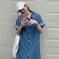 Dress Summer 2021 blue Average size longuette singleton  elbow sleeve commute Polo collar Loose waist Single breasted other shirt sleeve 18-24 years old Type H Other / other Korean version pocket YM6222 51% (inclusive) - 70% (inclusive) Denim