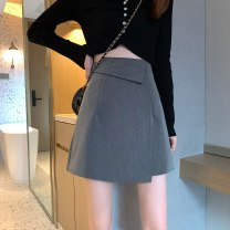 skirt Summer 2021 S,M,L Gray, black Short skirt commute High waist A-line skirt Solid color Type A 18-24 years old ysg8476 30% and below other Other / other zipper Korean version