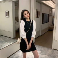 Dress Spring 2021 Dress - black, top - Black Average size (160 / 84A) Short skirt singleton  Long sleeves commute Crew neck Elastic waist Solid color Socket A-line skirt puff sleeve 18-24 years old Type A Korean version Splicing T14# 71% (inclusive) - 80% (inclusive) other