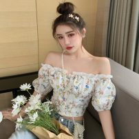 shirt Picture color S, M Summer 2021 other 30% and below Short sleeve Versatile Short style (40cm < length ≤ 50cm) square neck Single row multi button other Broken flowers 18-24 years old Self cultivation Other / other ZXJ4678
