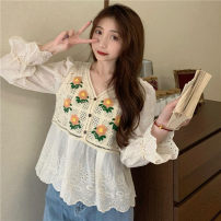 Lace / Chiffon Spring 2021 Apricot, white Average size Long sleeves commute singleton  easy have cash less than that is registered in the accounts V-neck 18-24 years old Other / other ysg6359 Korean version 30% and below