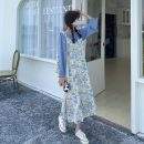 Fashion suit Summer 2021 Average size Blue chiffon shirt, oil painting floral suspender skirt 18-25 years old Other / other 30% and below