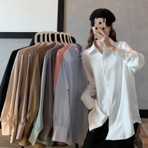 shirt Khaki, sky blue, apricot, dark gray, white, green, black, light coffee, dark coffee, pink Average size Spring 2021 other 51% (inclusive) - 70% (inclusive) Long sleeves commute Single row multi button routine 18-24 years old Straight cylinder Other / other Korean version ysg7615