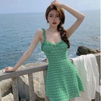 Dress Summer 2021 green S,M,L Short skirt singleton  square neck High waist Decor Socket other camisole 18-24 years old Type A Other / other ZXJ5521 30% and below other other
