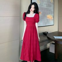 Dress Summer 2021 Red, black Average size Mid length dress singleton  Short sleeve High waist Solid color Socket 18-24 years old Type A Other / other zym14009 30% and below