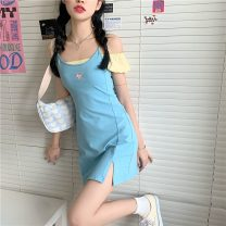 Dress Spring 2021 White top, yellow top, black skirt, baby blue skirt S, M Middle-skirt Two piece set Short sleeve commute 18-24 years old Type A Other / other Korean version lym13383 30% and below