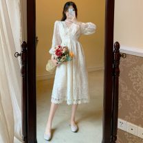Dress Spring 2021 Apricot lace dress S,M,L Mid length dress singleton  Long sleeves V-neck High waist Solid color Socket other other Others 18-24 years old Type A Other / other Lace LXJ1157 30% and below other other