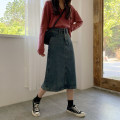 skirt Summer 2021 S,M,L,XL Nostalgic blue Mid length dress Versatile High waist Denim skirt Solid color Type A 18-24 years old 30% and below Denim Other / other other