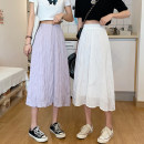 skirt Summer 2021 Average size White, violet Mid length dress commute High waist Pleated skirt Solid color Type A 18-24 years old ysg7751 31% (inclusive) - 50% (inclusive) other Other / other polyester fiber fold Korean version