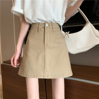 skirt Summer 2021 S,M,L Khaki, light blue, dark blue, black, coffee Short skirt commute High waist Solid color Type A 18-24 years old ysg7675 30% and below Other / other Korean version