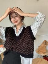 Fashion suit Autumn 2020 S. M, average size Striped shirt, woolen vest, skirt 379 71% (inclusive) - 80% (inclusive)