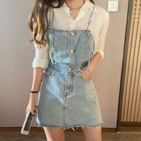 Dress Summer 2020 Denim blue S,M,L Short skirt singleton  Sleeveless commute other High waist Solid color other A-line skirt straps Type A Korean version Frenulum 71% (inclusive) - 80% (inclusive) other other