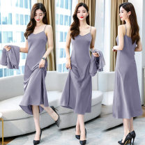 Dress Summer 2021 golden , grey S,M,L,XL,XXL Mid length dress singleton  Sleeveless commute other Solid color Socket other other camisole 30-34 years old More than 95% Silk and satin other