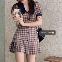 Dress Summer 2021 Picture color S, M Short skirt singleton  Short sleeve commute other High waist lattice Single breasted Pleated skirt puff sleeve Others 18-24 years old Type A Korean version Button 51% (inclusive) - 70% (inclusive)