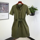 Dress Summer 2020 Khaki, army green all have color difference, army green no belt S,M,L,XL