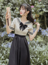 Dress Summer 2021 Rice white and black S,M,L Mid length dress Two piece set Short sleeve commute Admiral High waist Solid color zipper A-line skirt routine Others Type A lady Bowknot, zipper, stitching 8146#