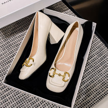 Low top shoes Other / other Square head Superfine fiber Square heel High heel (5-8cm) Shallow mouth Two layer pigskin Spring 2021 Trochanter Retro Adhesive shoes Youth (18-40 years old) Solid color rubber Single shoes Two layer pigskin daily Soft skin