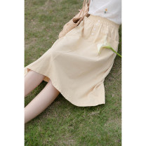 skirt Summer 2021 Average size yellow Mid length dress commute Natural waist A-line skirt Solid color Type A 18-24 years old 30% and below other cotton Pocket, button Korean version