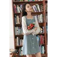 Dress Summer 2020 Blue short sleeves, blue long sleeves S,M,L Middle-skirt singleton  Short sleeve commute square neck High waist other Socket A-line skirt puff sleeve Others Type A Other / other Korean version Button, button 30% and below other other