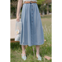 skirt Summer 2021 S,M,L,XL Blue, black Mid length dress commute High waist Umbrella skirt Solid color Type A 18-24 years old 30% and below Denim other Korean version