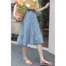 skirt Summer 2021 S,M,L,XL Blue, black Mid length dress Versatile High waist Denim skirt Solid color Type A 18-24 years old 30% and below Denim