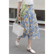 skirt Summer 2021 Average size blue longuette commute High waist A-line skirt Broken flowers Type A 18-24 years old 30% and below other other Korean version