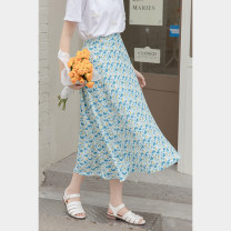 skirt Summer 2021 Average size blue Mid length dress commute High waist A-line skirt Broken flowers Type A 18-24 years old 30% and below other other Korean version