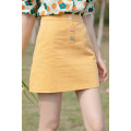 skirt Summer 2021 S,M,L,XL yellow Short skirt commute High waist A-line skirt Solid color Type A 18-24 years old 30% and below other other Korean version