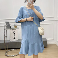 Dress Summer 2021 blue L,XL Middle-skirt singleton  Short sleeve Sweet Crew neck Loose waist Solid color Socket Princess Dress pagoda sleeve 18-24 years old Babaon 30% and below other other Mori
