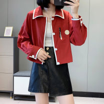 short coat Spring 2021 M, L Black, red, royal blue Long sleeves have cash less than that is registered in the accounts routine singleton  Straight cylinder Versatile routine square neck zipper other Babaon 30% and below other polyester fiber