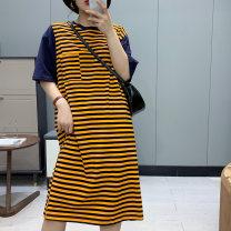 T-shirt Black stripe, orange stripe, red stripe Average size Short sleeve Crew neck Medium length routine cotton 30% and below Babaon
