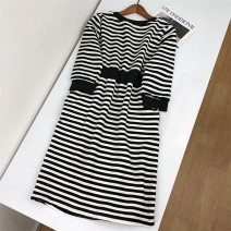 Dress Spring 2021 Black and white stripes M,L,XL Mid length dress singleton  three quarter sleeve commute Crew neck stripe Socket other routine 18-24 years old Babaon Korean version 30% and below other cotton