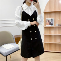 Dress Spring 2021 Black, brown M,L,XL Middle-skirt singleton  Long sleeves commute double-breasted routine 18-24 years old Babaon Korean version 30% and below other other
