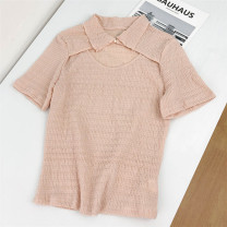 shirt Pink S,M,L Summer 2021 cotton 30% and below Short sleeve Versatile Regular Socket routine Solid color 25-29 years old Self cultivation Babaon
