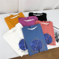 T-shirt White, black, blue, yellow, purple, pink Average size Summer 2021 Short sleeve Crew neck Straight cylinder Regular routine street other 30% and below 18-24 years old other Plants and flowers, solid color Babaon printing