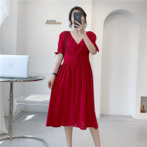 Dress Summer 2021 gules M,L,XL Mid length dress singleton  Short sleeve Sweet V-neck Solid color Single breasted routine 18-24 years old Type A Babaon 30% and below other cotton
