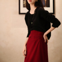 skirt Winter of 2019 S M L Chelizi red - in stock Mid length dress commute High waist skirt Solid color Type H 25-29 years old M19294 No, no, no, No zipper Retro Exclusive payment of tmall