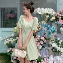 Dress Summer 2021 Light blue bean green skin powder Average size Short skirt singleton  Short sleeve commute square neck High waist Solid color Socket A-line skirt puff sleeve 18-24 years old Type A Itrustar Korean version Stitching buttons More than 95% polyester fiber Pure e-commerce (online only)
