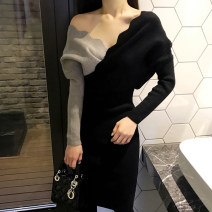 Dress Autumn 2020 Picture color S,M,L,XL longuette singleton  Long sleeves commute V-neck middle-waisted Solid color Socket Pencil skirt routine Others 18-24 years old Type H Korean version Splicing 30% and below knitting cotton