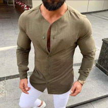 shirt Youth fashion Others M,L,XL,2XL,3XL White, black, green routine stand collar Long sleeves standard Other leisure Four seasons youth Solid color