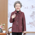 Middle aged and old women's wear Spring 2021 1, 2, 3, 4, 5, 6 XL,XXL,XXXL,4XL,5XL Happiness Jacket / jacket easy singleton  Decor Over 60 years old Cardigan moderate Polo collar routine routine Independent brand pocket polyester 81% (inclusive) - 90% (inclusive) Single breasted