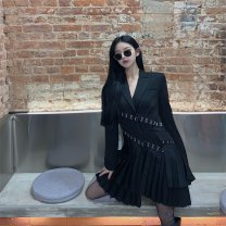 Dress Winter 2020 black S,M,L Short skirt singleton  Long sleeves commute tailored collar High waist Solid color double-breasted Pleated skirt routine Others 25-29 years old Type A Korean version Pleats, buttons polyester fiber
