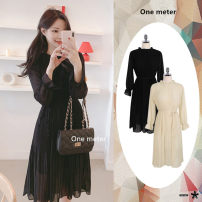 Dress Autumn 2020 Apricot, black S,M,L,XL Middle-skirt singleton  Long sleeves Sweet High waist Solid color Socket Pleated skirt 18-24 years old Type A Other / other Bowknot, tuck, fungus, lace, strap, button Mori