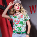 T-shirt Decor S,M,L,XL,2XL Summer 2021 Short sleeve Crew neck Self cultivation Regular routine street polyester fiber 96% and above originality Plants and flowers Printing, splicing Europe and America
