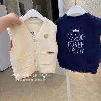 Vest neutral White knitted vest, Navy knitted vest 90 (recommended height about 75cm), 100 (recommended height about 85CM), 110 (recommended height about 95cm), 120 (recommended height about 105cm), 130 (recommended height about 115cm) Other / other
