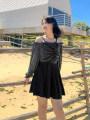one piece  Pefil L,XL,XXL,3XL,4XL Black, green Skirt one piece Steel strap breast pad female Long sleeves Casual swimsuit