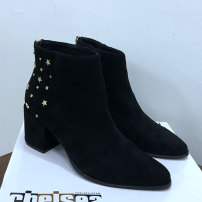 Boots 36,37,38,39,40,41,42 black Suede Other / other High heel (5-8cm) Thick heel Suede Short tube Sharp point cloth Two layer pigskin Winter 2020 Back zipper Punk rubber Solid color Fashion boots Adhesive shoes Two layer pigskin Youth (18-40 years old) winter routine