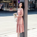 Dress Summer 2021 S M L Mid length dress singleton  Short sleeve commute One word collar High waist Solid color Socket Big swing puff sleeve 25-29 years old Type H Paradise of awakening Korean version 31% (inclusive) - 50% (inclusive) polyester fiber Viscose (viscose) 55% polyester 45%