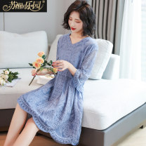 Dress Summer 2020 White blue Average size Middle-skirt singleton  Short sleeve commute V-neck middle-waisted Solid color Socket other routine 25-29 years old Type H Paradise of awakening Korean version Gouhua hollow SXL2O211 71% (inclusive) - 80% (inclusive) cotton Cotton 73.1% rayon 26.9%